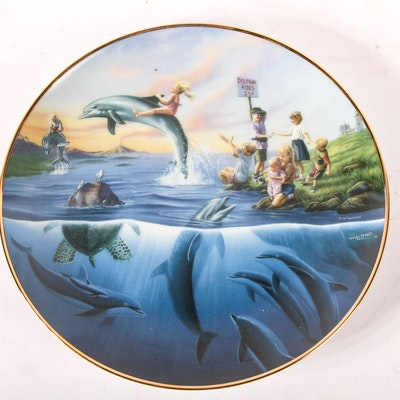 """Wyland """"Dolphin Rides"""" First Edition Collector Plate"""