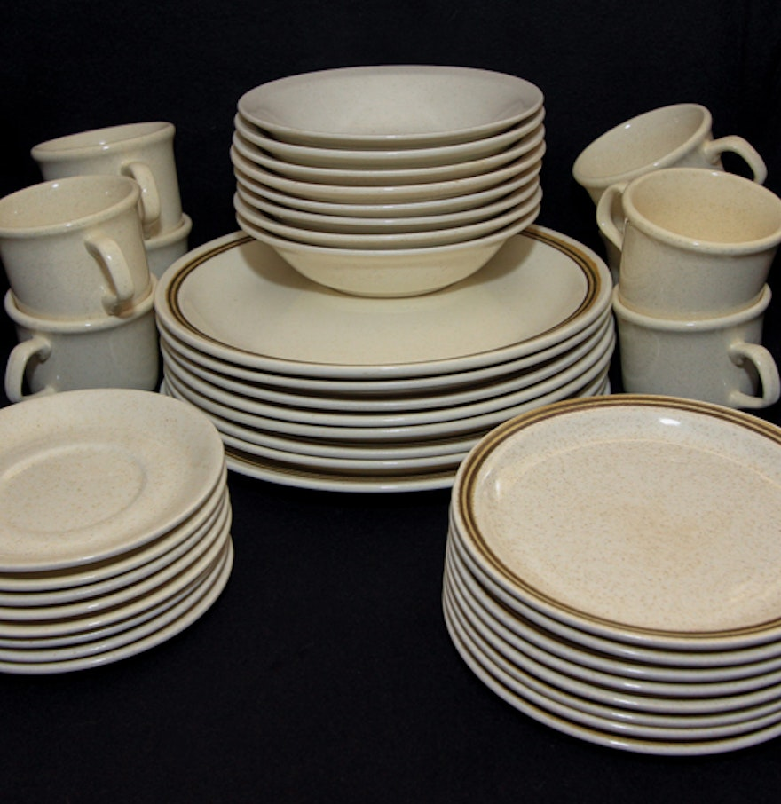 Vintage White Kitchen And Plates