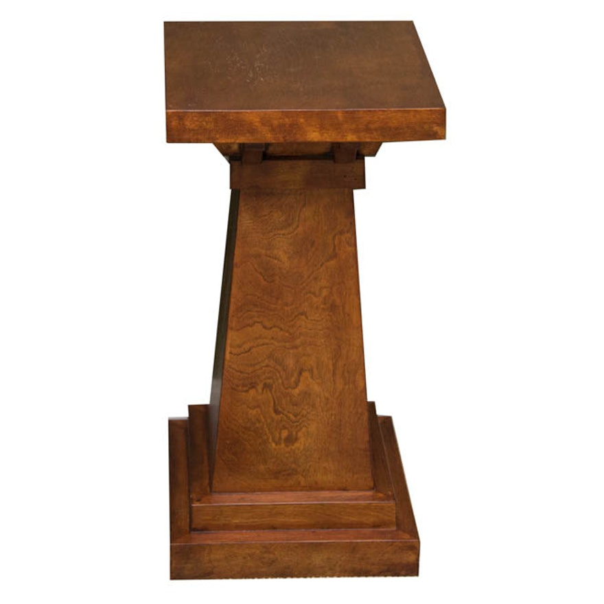 Mission Style Wooden Pedestal Plant Stand