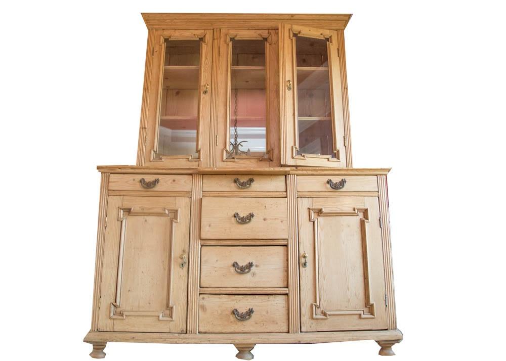 Antique Pine China Display Cabinet ...  sc 1 st  Everything But The House & Antique Pine China Display Cabinet : EBTH