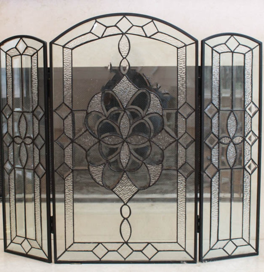 Decorative glass fireplace screen ebth Decorative fireplace screens