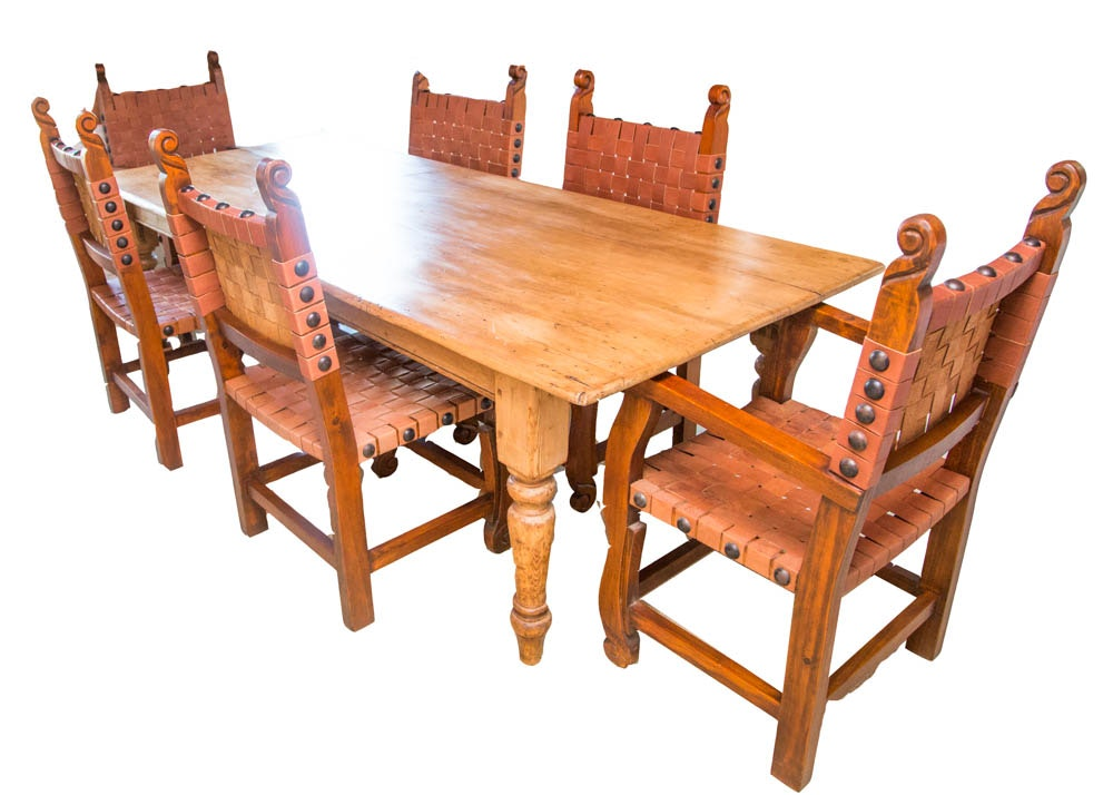 Antique Spanish Colonial Style Pine Dining Table with Six  : 0582520252822520of2520122529jpgixlibrb 11 from www.ebth.com size 880 x 906 jpeg 126kB