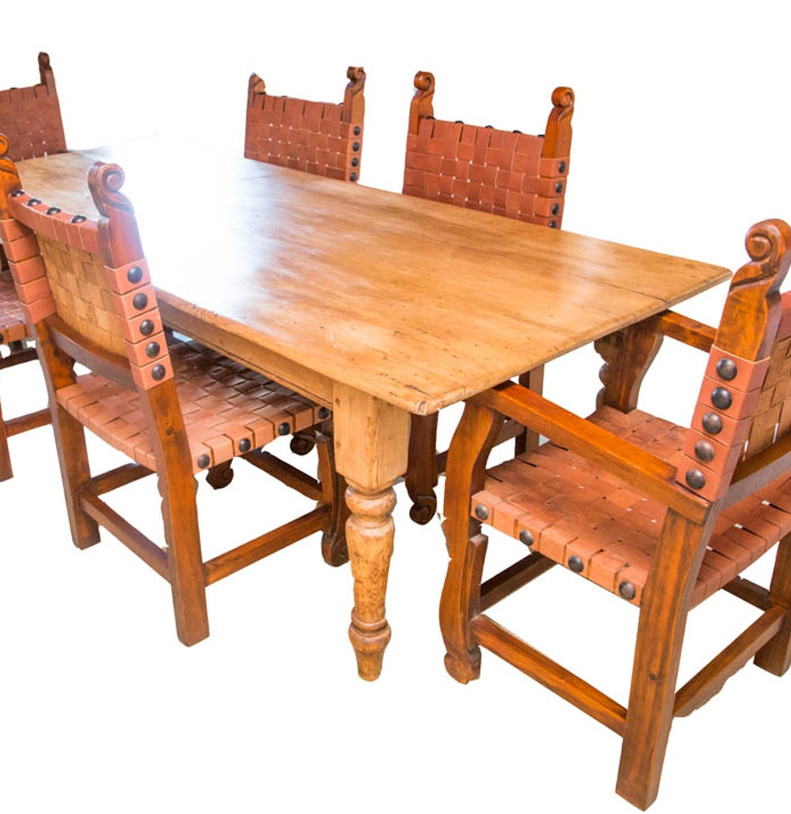 Antique spanish colonial style pine dining table with six for Dining table and six chairs