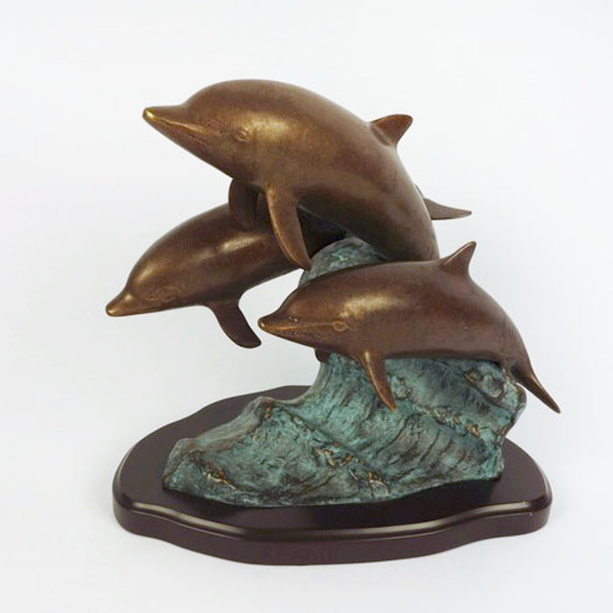 San pacific international bronze dolphin sculpture ebth for Decor international middletown oh