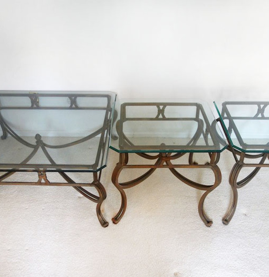 Cast iron glass top coffee and end tables with glass tops for Cast iron end table