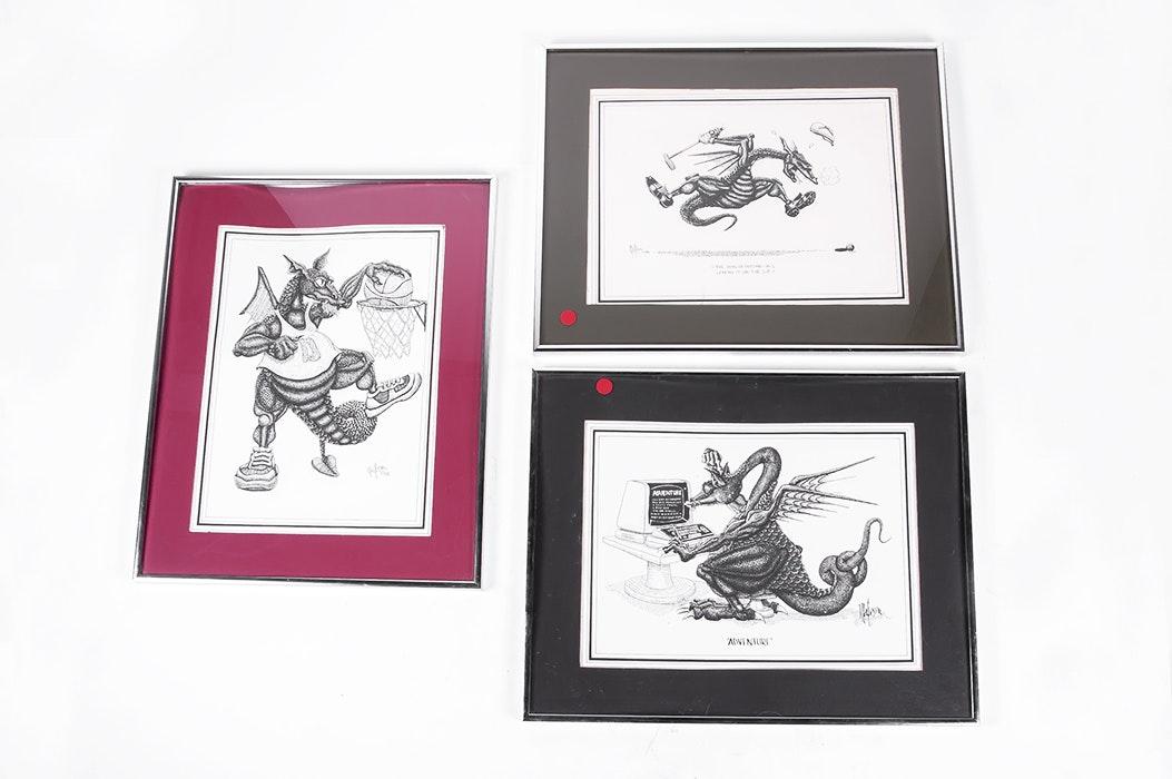 trio of r c matteson dragon prints ebth