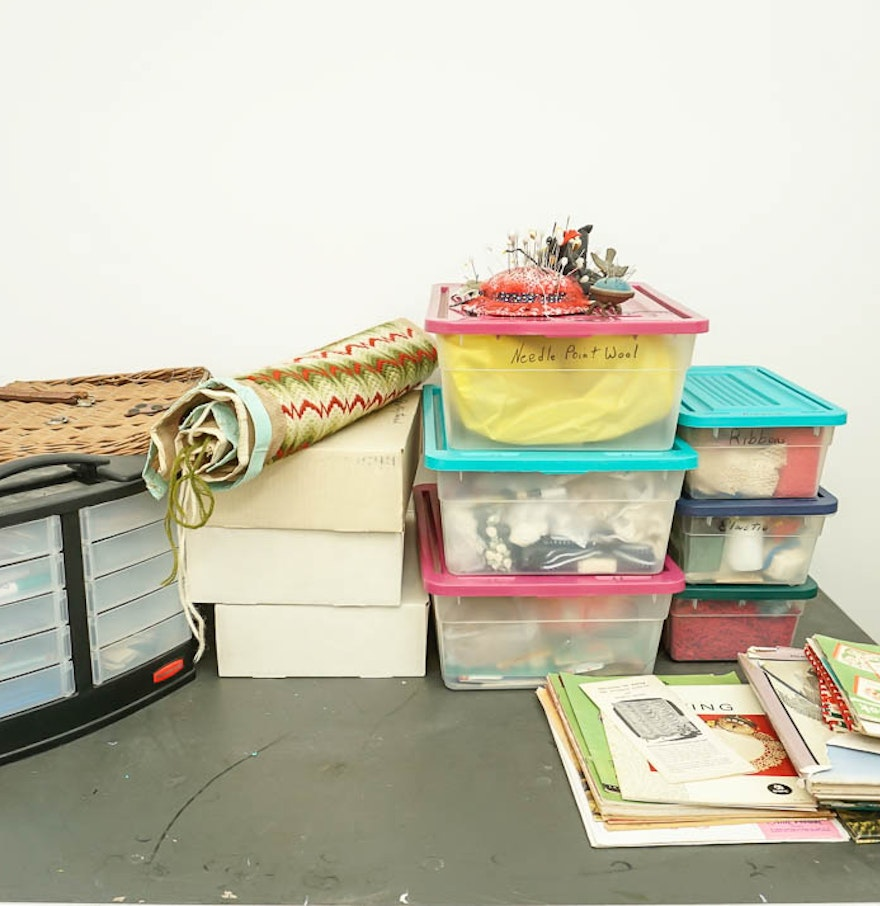 Craft supply storage containers - Extensive Collection Of Fabric Craft Supplies With Storage Containers