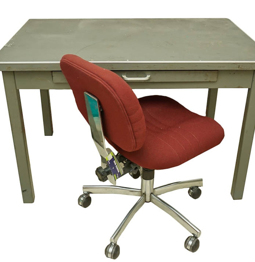 Metal Work Table And Padded Chair With Casters EBTH