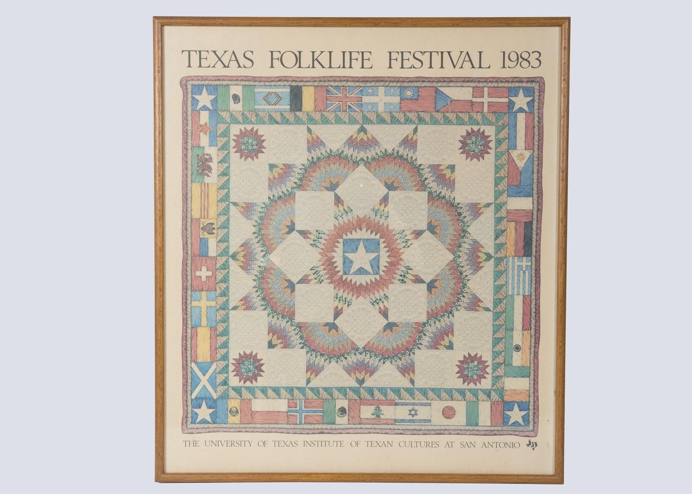 1983 Framed Texas Folklife Festival Poster Ebth