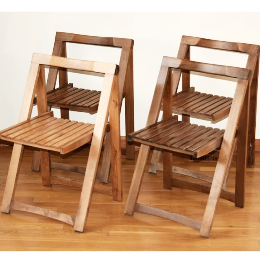 four mid century wooden folding chairs made in yugoslavia ebth. Black Bedroom Furniture Sets. Home Design Ideas