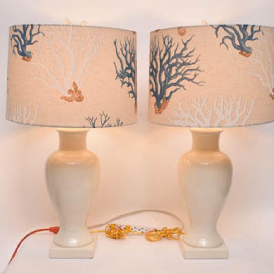 Ginger Jar Lamps With C Print Lamp Shades
