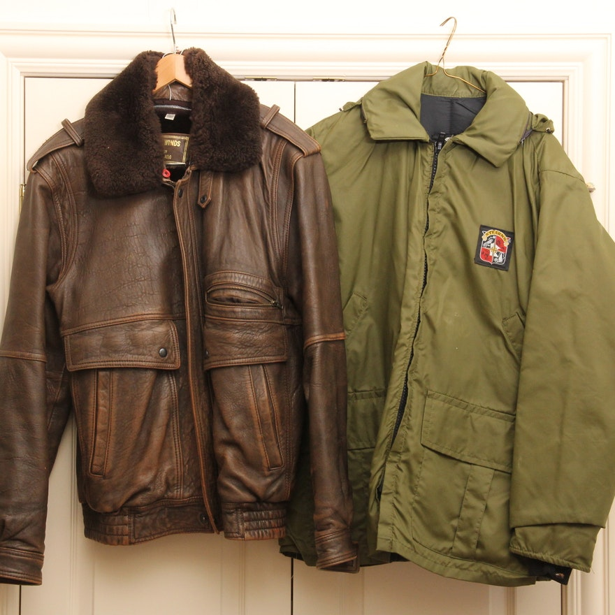 b415618238ad Vintage Leather and Faux Fur Bomber Jacket   EBTH