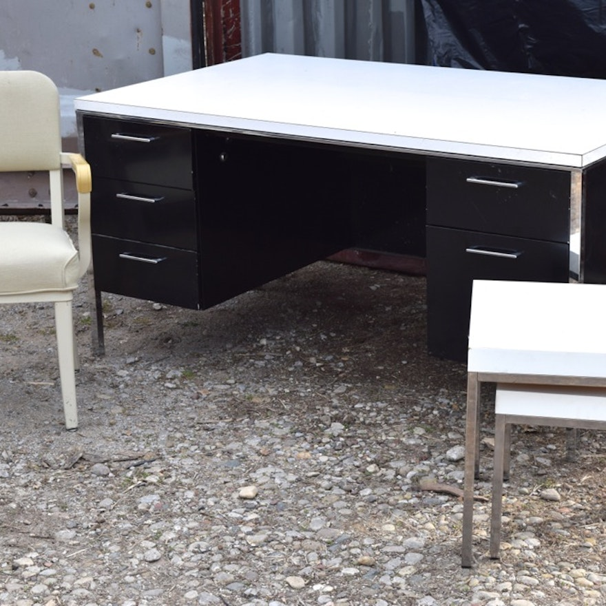 Midcentury Singer Office Desk And Steelcase Chair Side Tables
