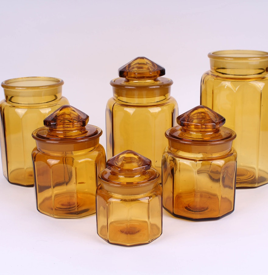 Amber glass kitchen canisters ebth for Glass bathroom canisters