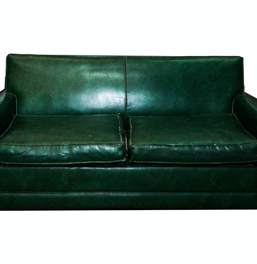 Vintage 1950s Simmons Green Vinyl Hide A Bed Sofa Ebth