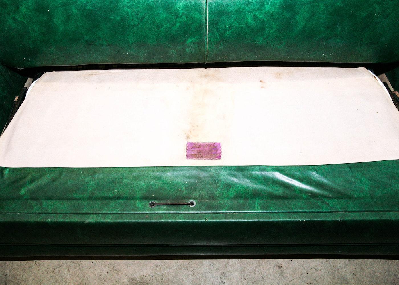 Vintage 1950s Simmons Green Vinyl Hide A Bed Sofa Ebth