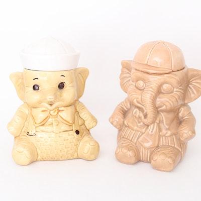 Vintage Pair of Ceramic Elephant Cookie Jars