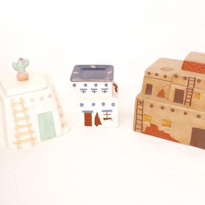 Vintage Group of Adobe-Inspired Cookie Jars