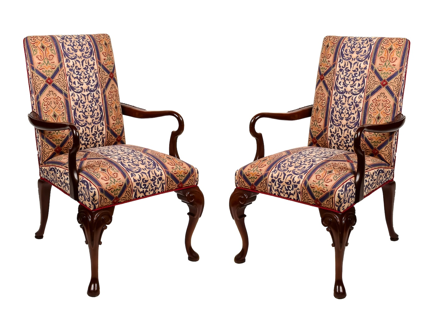 Statesville Queen Anne Style Upholstered Chairs Ebth
