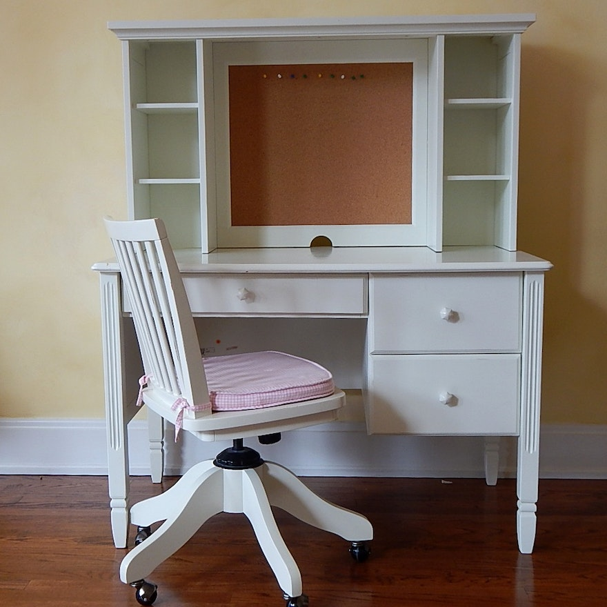 Pottery Barn Kids White Desk Hutch And Chair Ebth