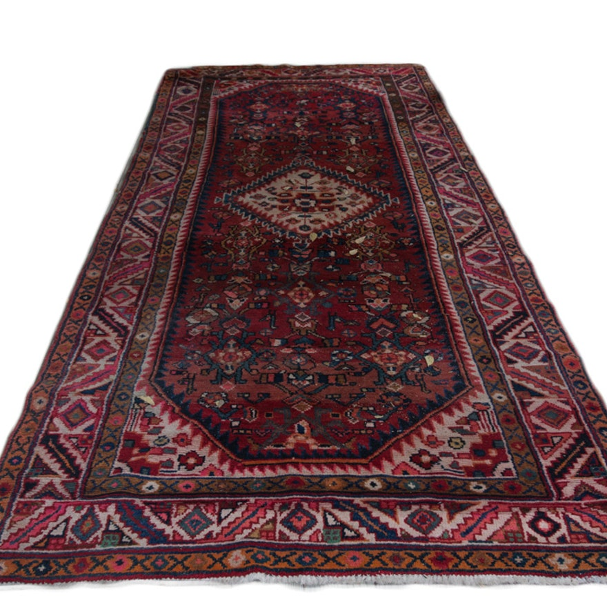 Hand Knotted Persian Hamadan Wool Area Rug Ebth: Hand-Knotted Hamadan Wool Carpet Runner
