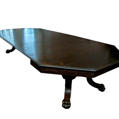 Grandiose English Red Oak Revival Dining Table