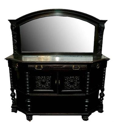 English Red Oak Revival Mirror Back Buffet