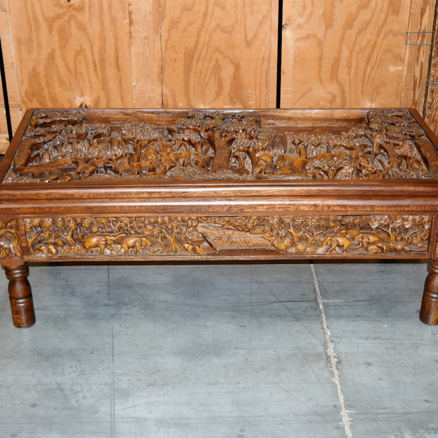Thai Hand Carved Coffee Table