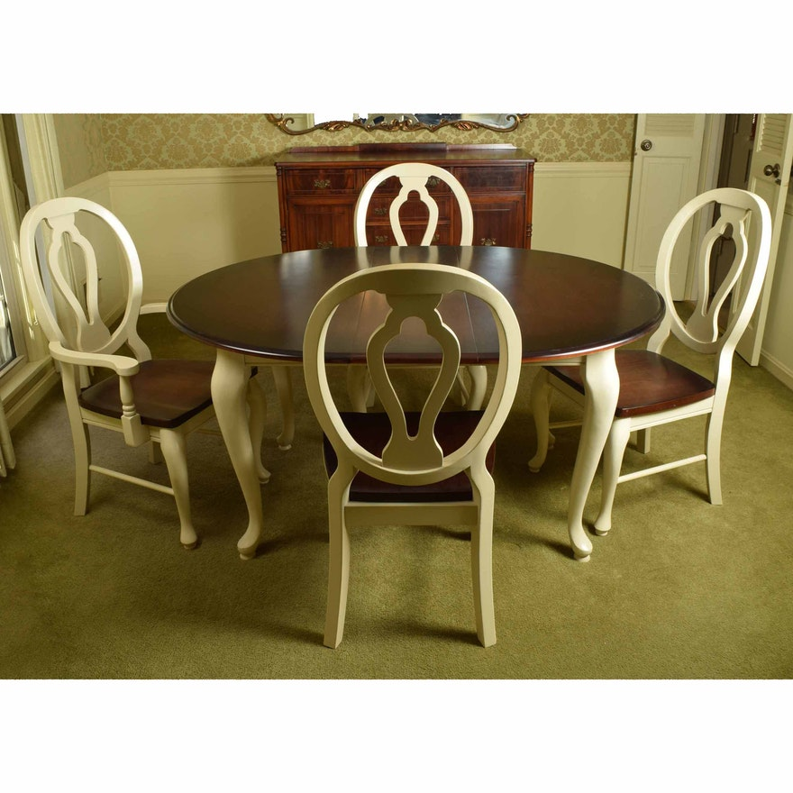 Wondrous Queen Anne Style Oak And Cream Dining Room Table And Four Chairs Dailytribune Chair Design For Home Dailytribuneorg