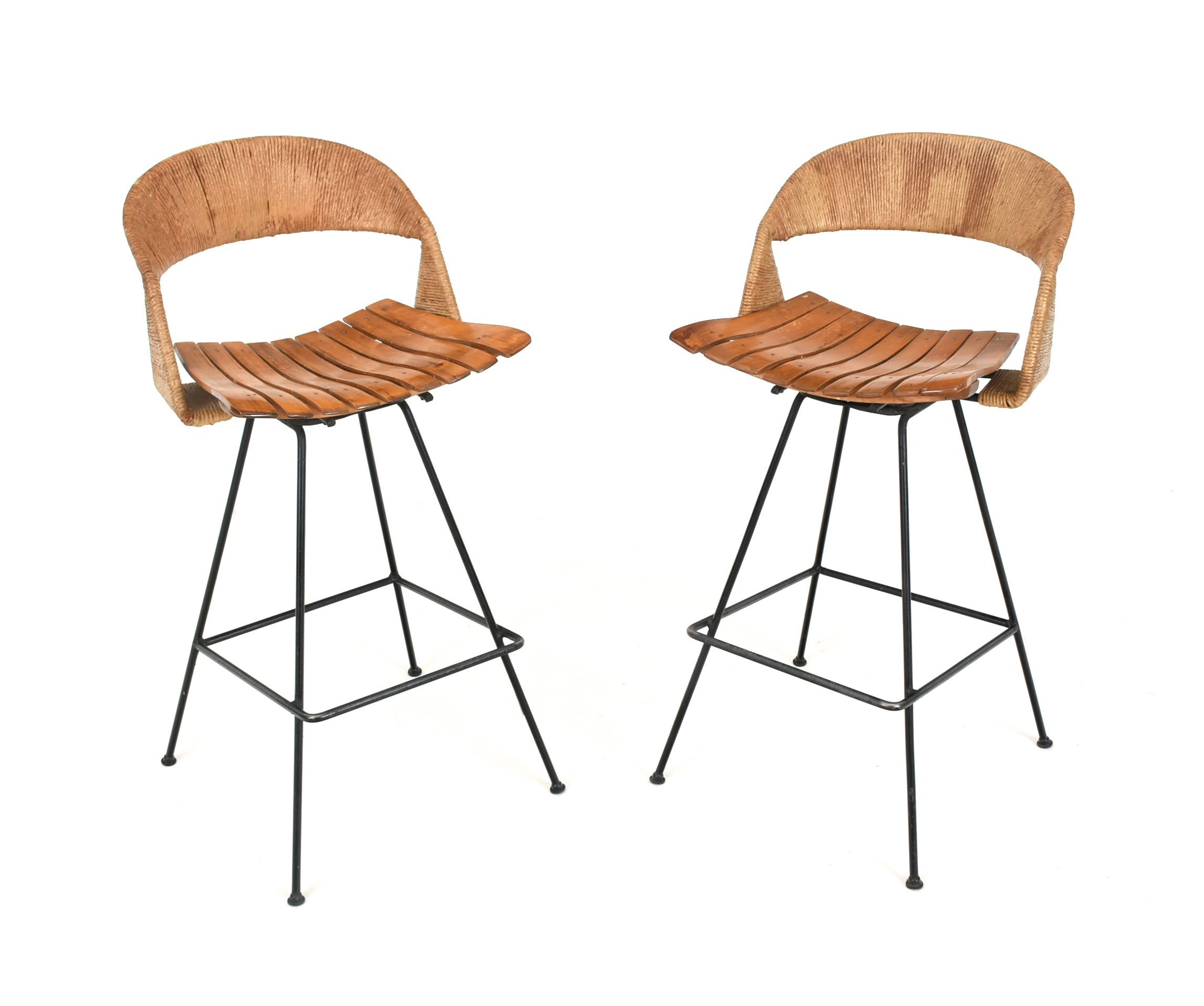 Pair Of Arthur Umanoff Bar Stools Ebth