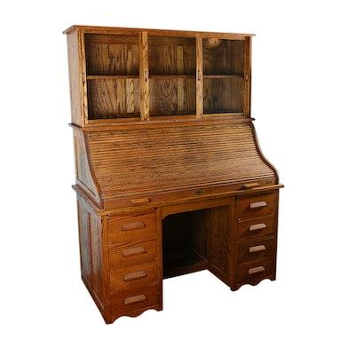 Oak Rolltop Desk with Sliding Glass Door Cabinet