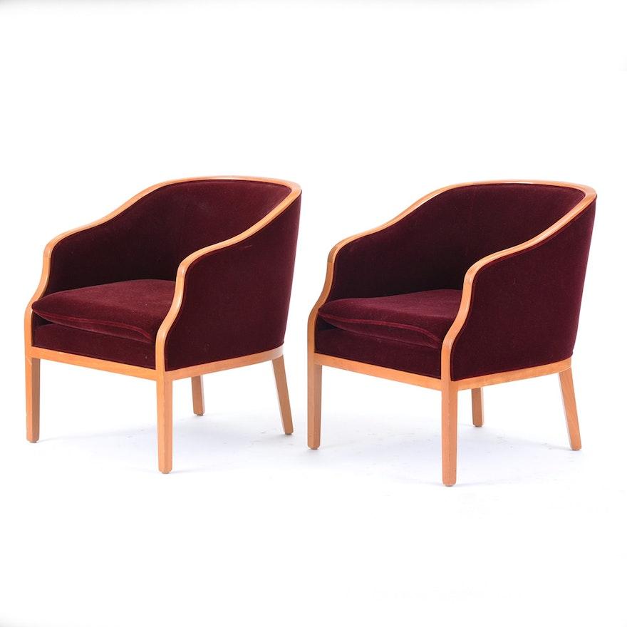 Pair Of Geiger Brickel Mohair Arm Chairs