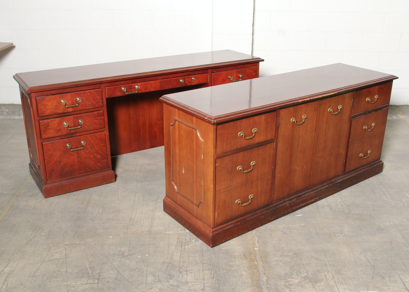 Kimball office desk and credenza ebth - Kimball office desk ...