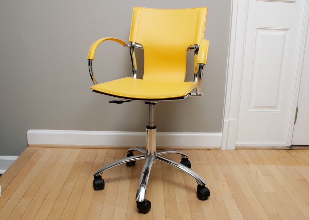 Marigold Yellow and Chrome Rolling Desk Chair EBTH
