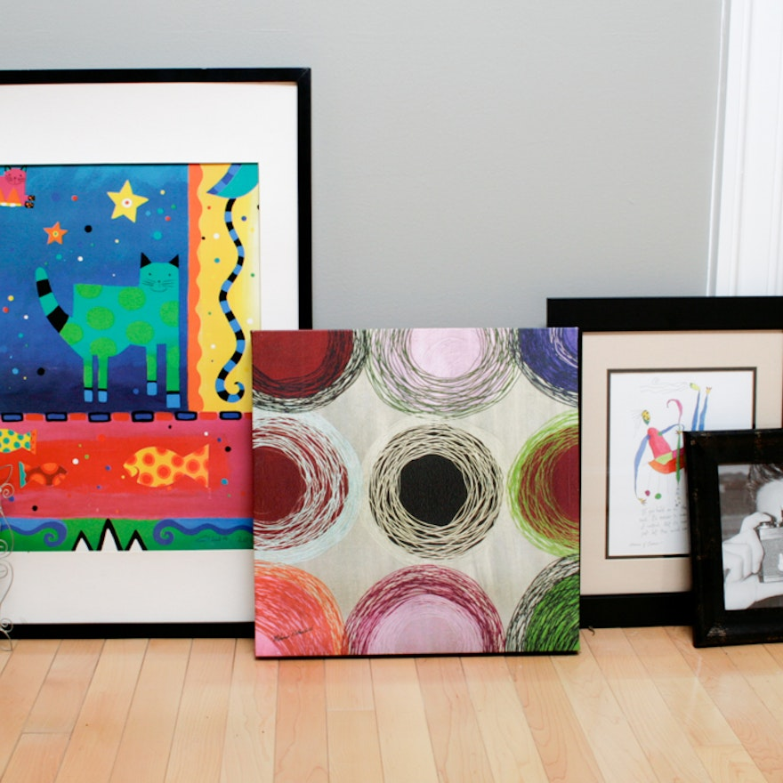 Assortment of Offset Lithographs and Frames, Melanie Rothschild and ...
