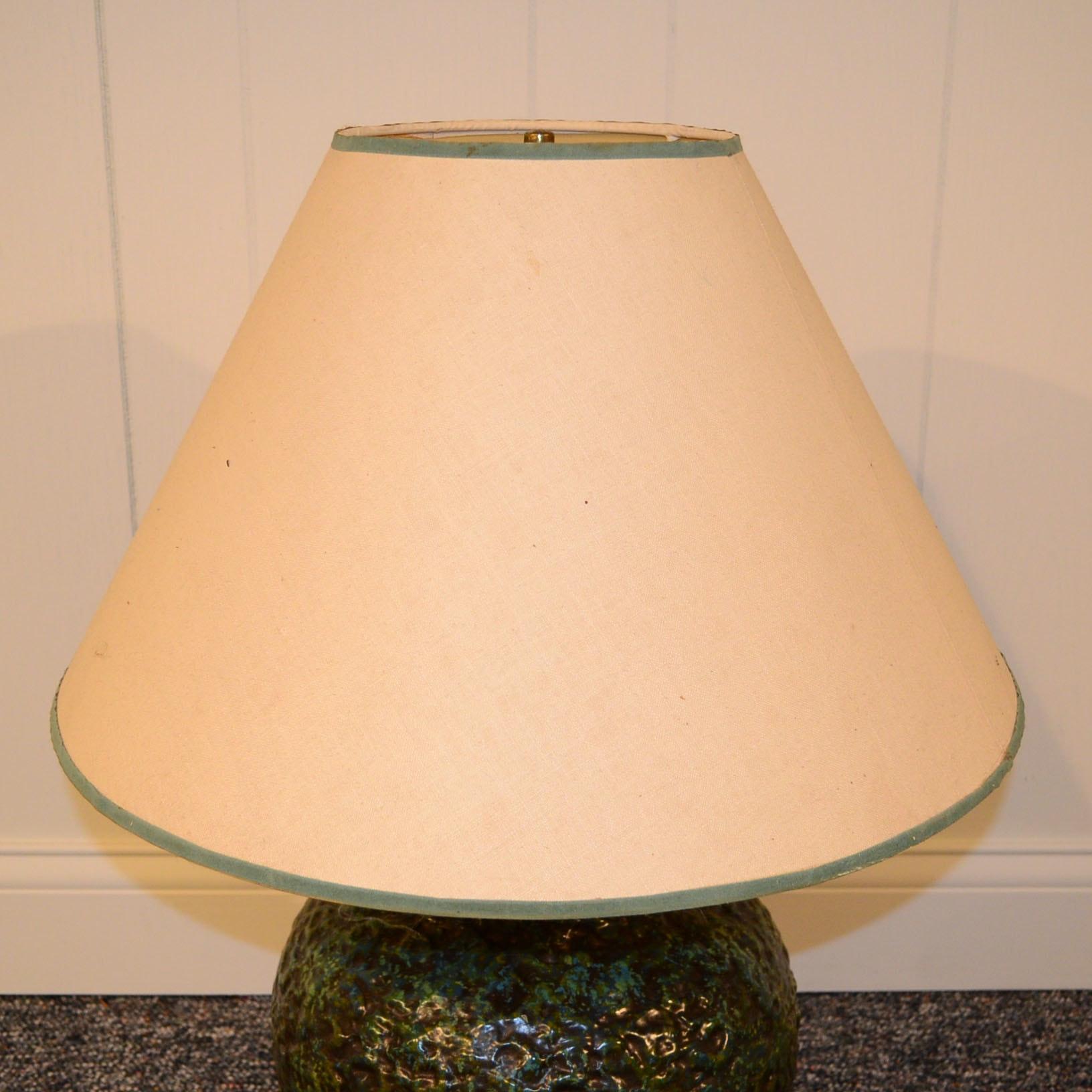 Green And Brown Ceramic Lamp Ebth