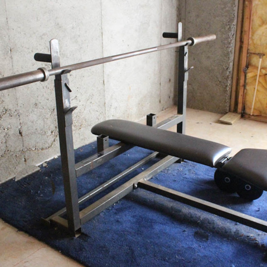 Free Weights On Bench: Bodysmith By Parabody Weight Bench And Weights : EBTH
