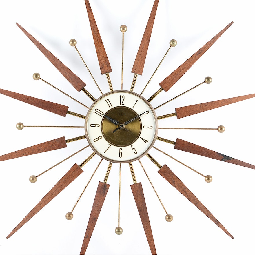 Vintage Elgin Sunburst Wall Clock Ebth