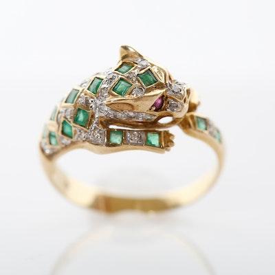 14K Gold Panther Emerald, Diamond, & Ruby Ring