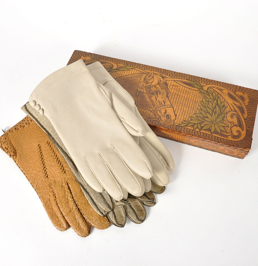 Vintage ladies leather opera gloves - Vintage Leather Long Gloves And German Made Wood Dresser Box
