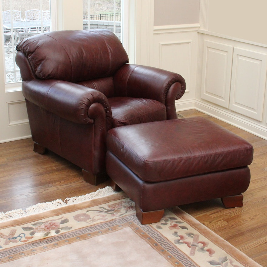 Italsofa Leather Chair And Ottoman