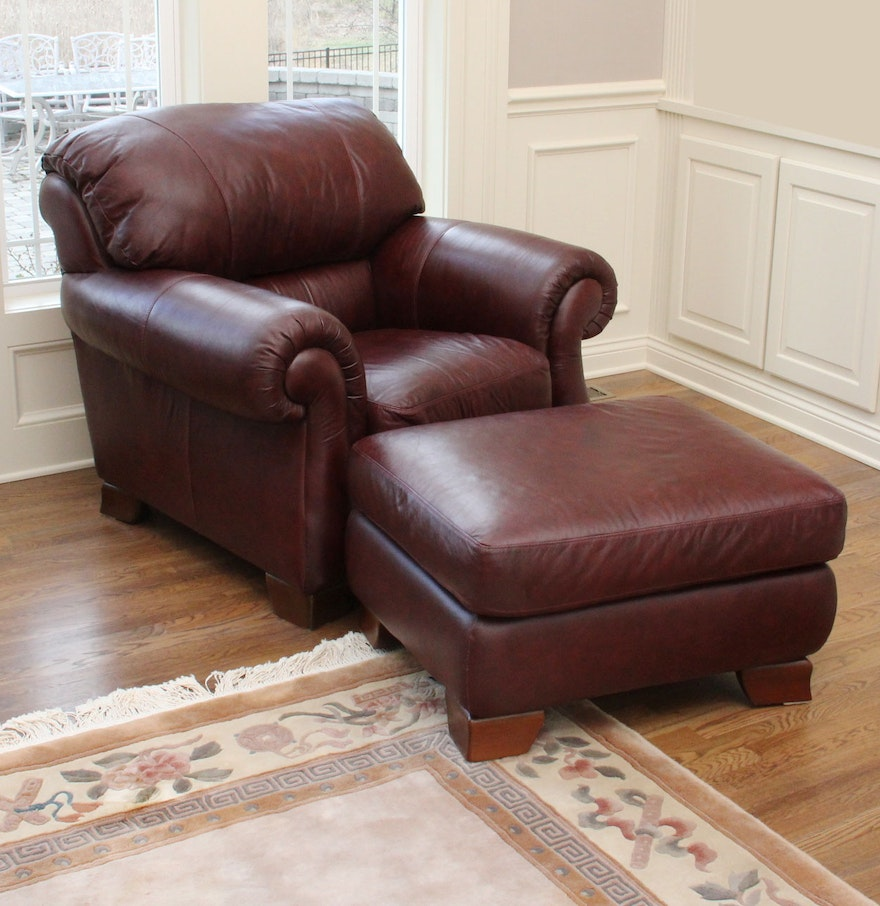 Italsofa Leather Chair And Ottoman Ebth