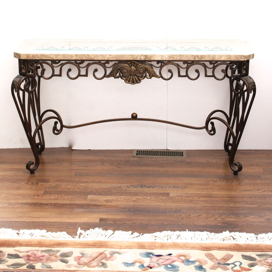 glass top wrought iron sofa table ebth. Black Bedroom Furniture Sets. Home Design Ideas