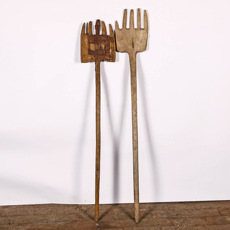 Antique Wooden Pitchfork Pair