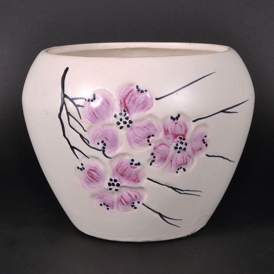 Vintage Mccoy Pottery Vase With Pink Dogwood Blossoms Ebth