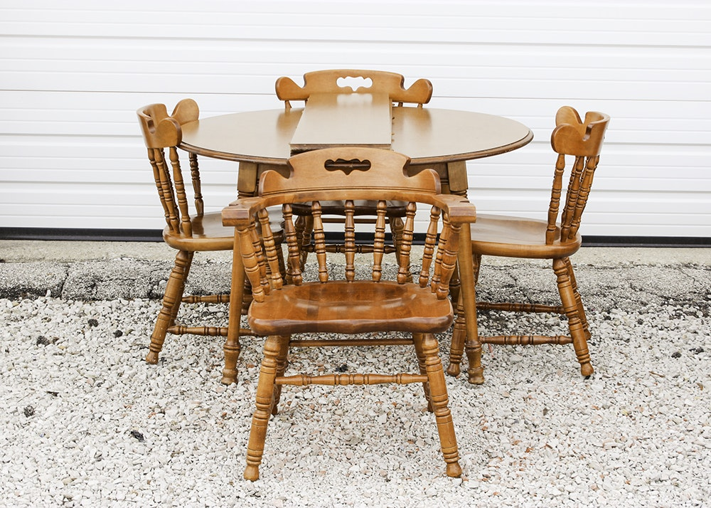 Maple Kitchen Table With Chair And Bench Ebth: Set Of Four Tell City Maple Chairs And Table : EBTH