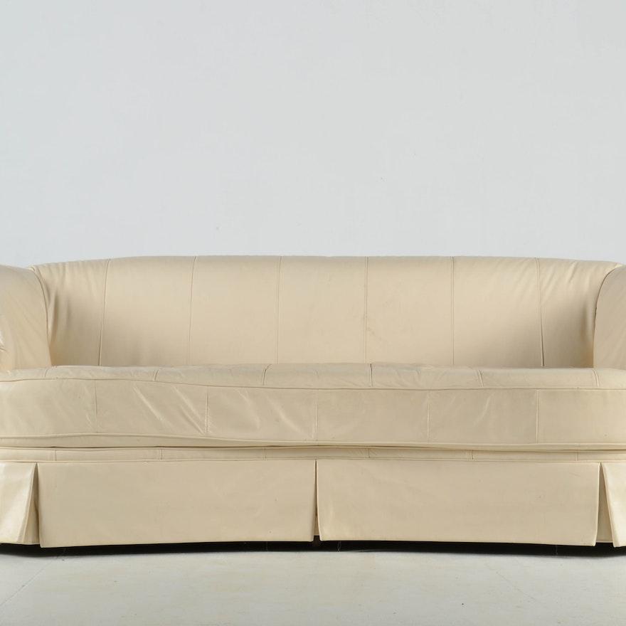 Norwalk Cream Leather Sofa