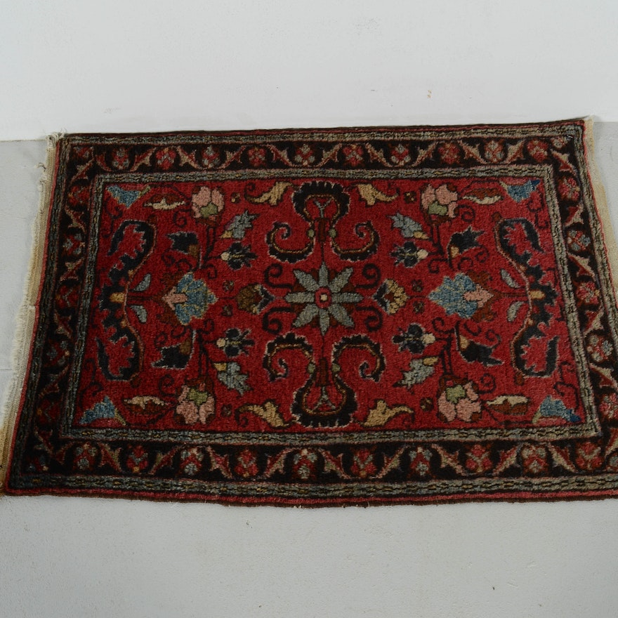Persian Hand Knotted Kashan Silk And Wool Area Rug Ebth: Antique Hand Knotted Kashan Style Rug