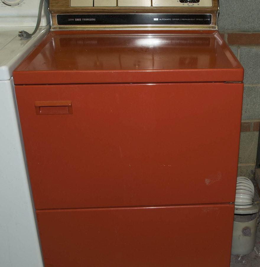Old Clothes Dryer ~ Vintage orange electric crown frigidaire clothes dryer ebth