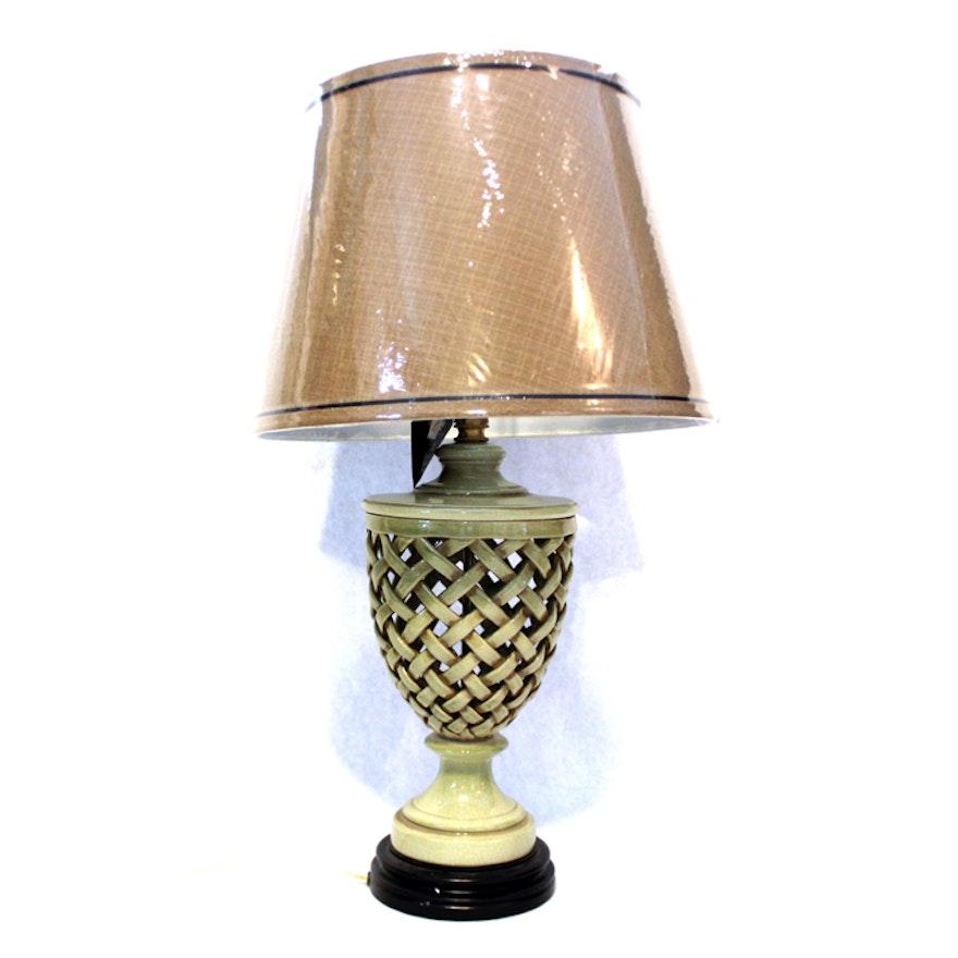 Bradburn Gallery Green Lattice Ceramic Urn Table Lamp Ebth